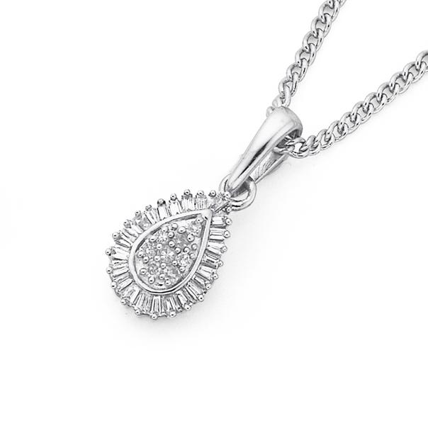 9ct White Gold Diamond Teardrop Pendant