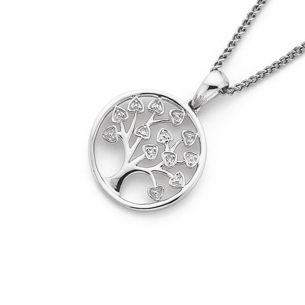 9ct White Gold Diamond Tree of Life Circle Pendant