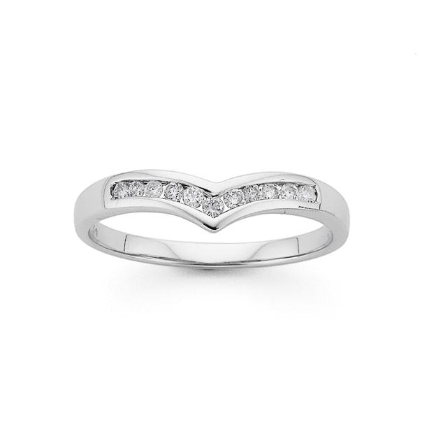9ct White Gold Diamond V Anniversary Ring