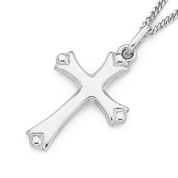 9ct White Gold Small Celtic Style Cross Pendant