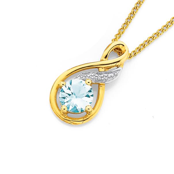 Diamond & Aquamarine Pendant