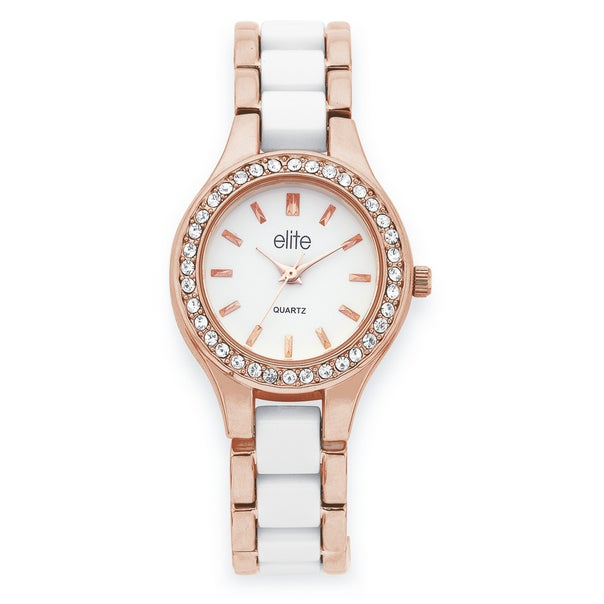 Elite Ladies Rose Tone Watch