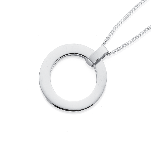 Open Circle Pendant in Sterling Silver 25mm
