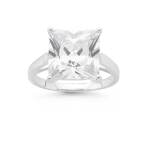 Silver 10mm Square Cubic Zirconia Solitaire Ring