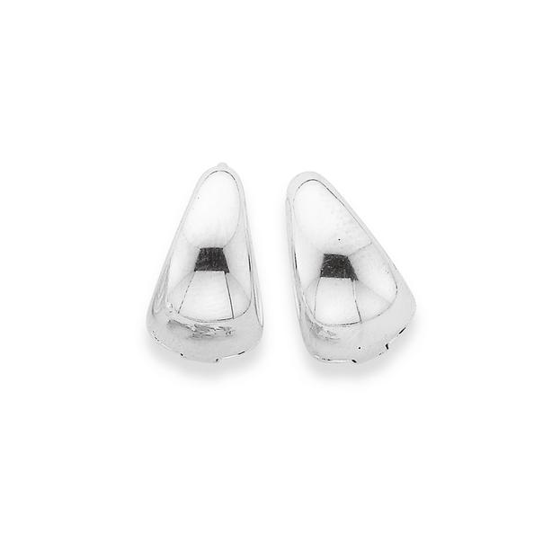Silver 10mm Tappered Huggie Earrings