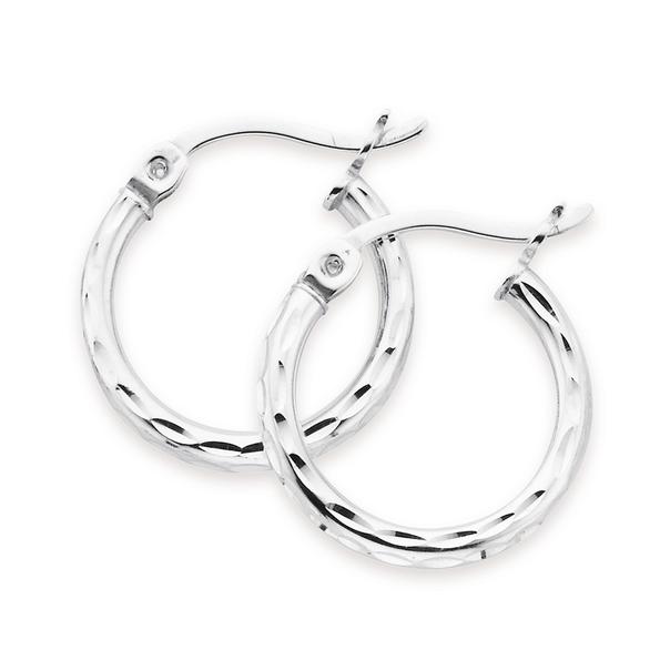 Silver 12mm Diamond Cut Hoop Earrings