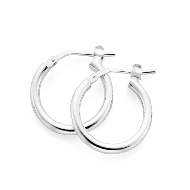 Silver 12mm Square Edge Tube Hoop Earrings