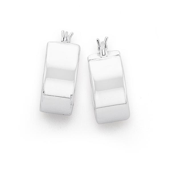 Silver 15mm Wide Hoop Earrings