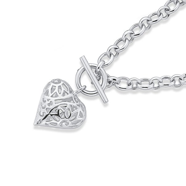Silver 19cm Filigree Heart Cable Link Fob