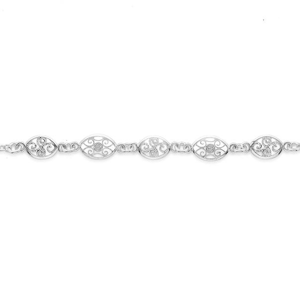 Silver 19cm Five Oval Filigree Bracelet