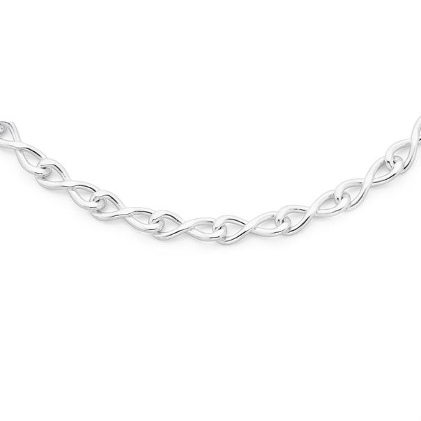 Silver 19cm Infinity Interlocking Link Bracelet