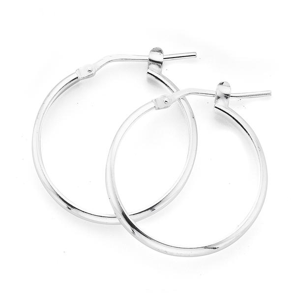 Silver 20mm Half Round Hoop Earrings