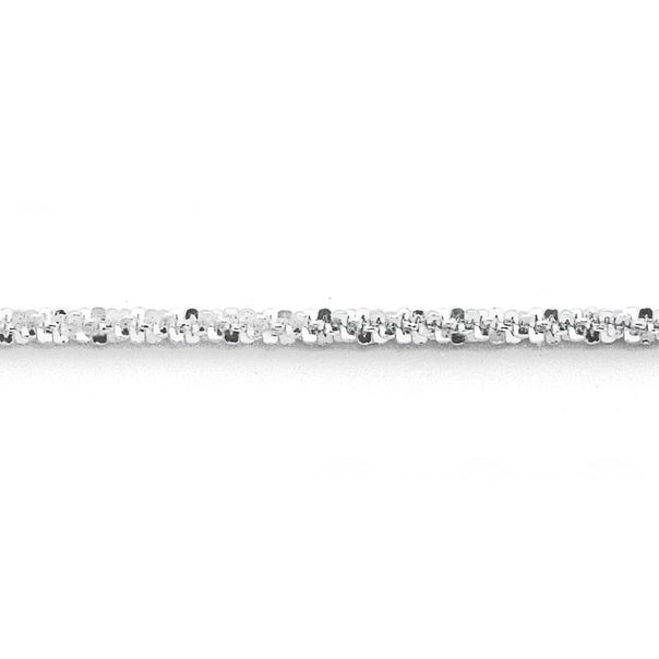 Silver 25cm Sparkly Twist Anklet