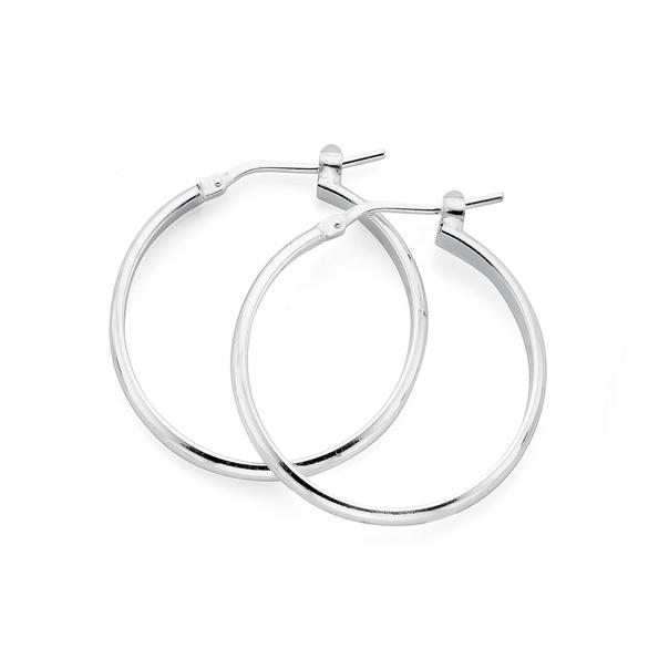 Silver 25mm Half Round Hoop Earrings