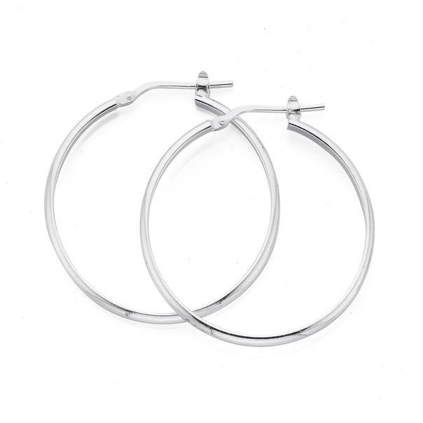 Silver 30mm 2.5mm Light Half Round  Hoop Earrings