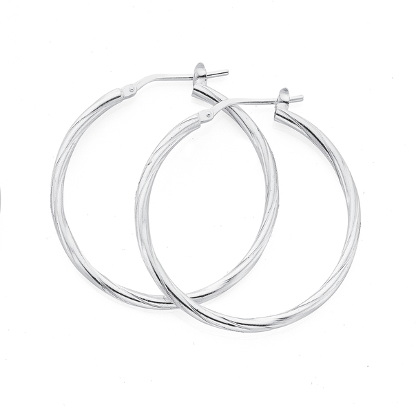 Silver 30mm Fine Twist Hoop Earrings