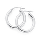 Silver 3X15mm Plain Tube Hoop Earrings