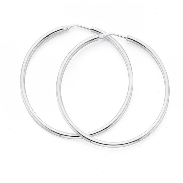 Silver 40mm 2mm Gypsy Hoop Earrings