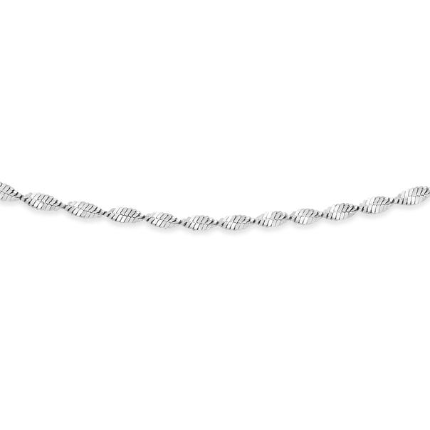 Silver 50cm Shiny Twist Serpentine Chain