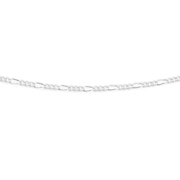 Silver 55cm 3+1 Figaro Chain