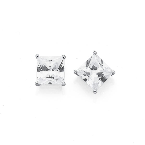 Silver 7.5mm Square Cubic Zirconia Stud Earrings