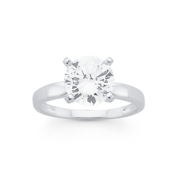 Silver 9mm Cubic Zirconia Solitaire Ring