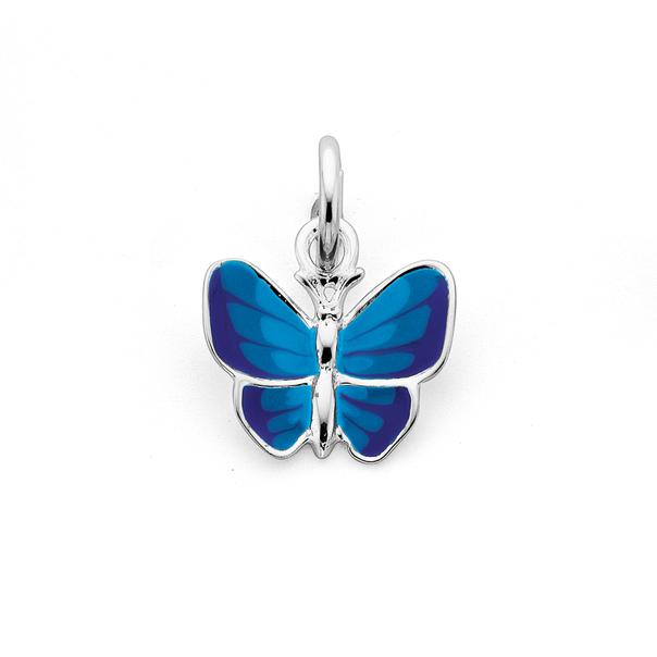 Silver Blue Enamel Butterfly Charm