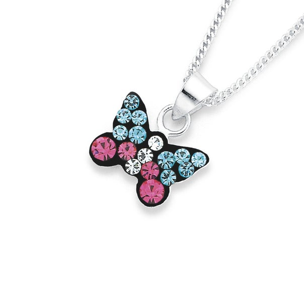 Silver Blue & Pink Crystal Butterfly Pendant