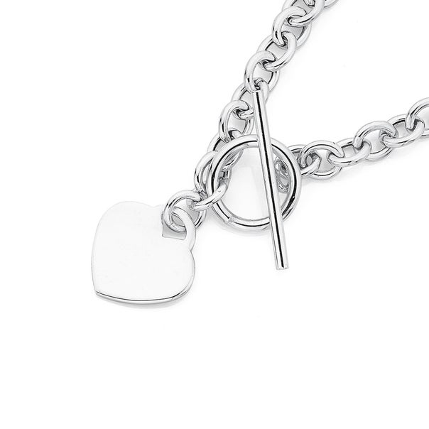 Silver Cable Chain Heart Fob Bracelet