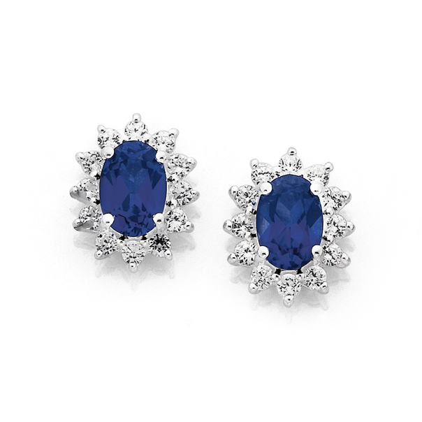 Silver Created Sapphire Oval Cluster Earrings