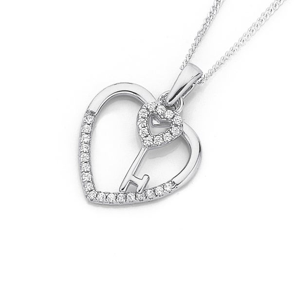 Silver Cubic Zirconia Key To My Heart Pendant