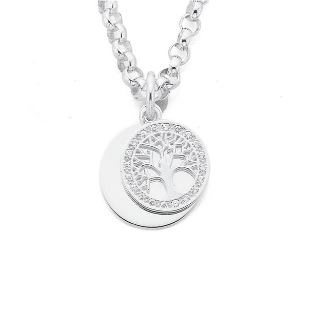 Silver Cubic Zirconia Tree of Life Disc On Belcher Bracelet