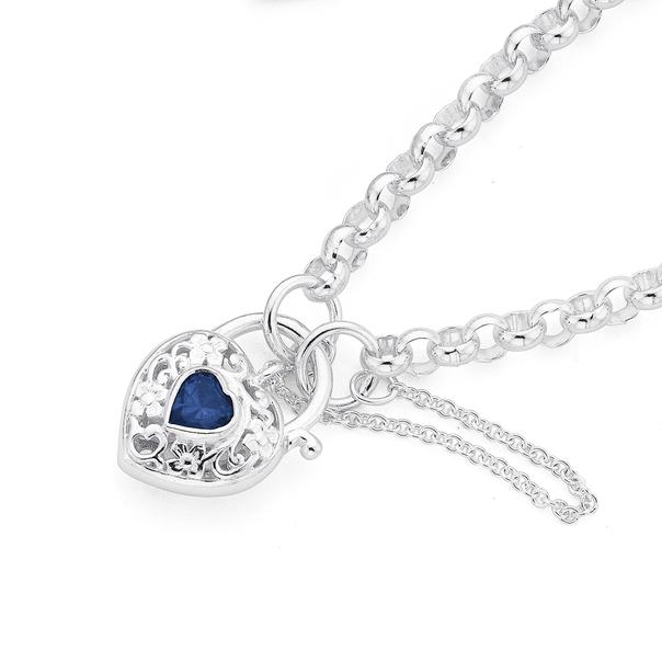Silver Dark Blue Cubic Zirconia Filigree Padlock Bracelet