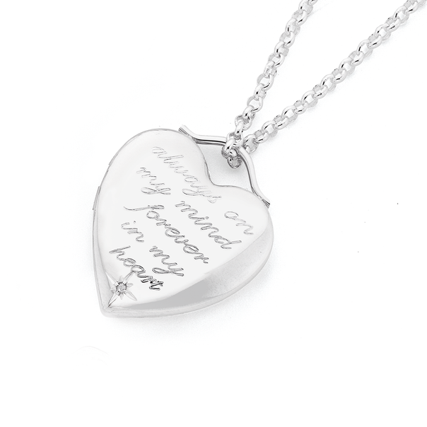 Silver Diamond Message Heart Locket