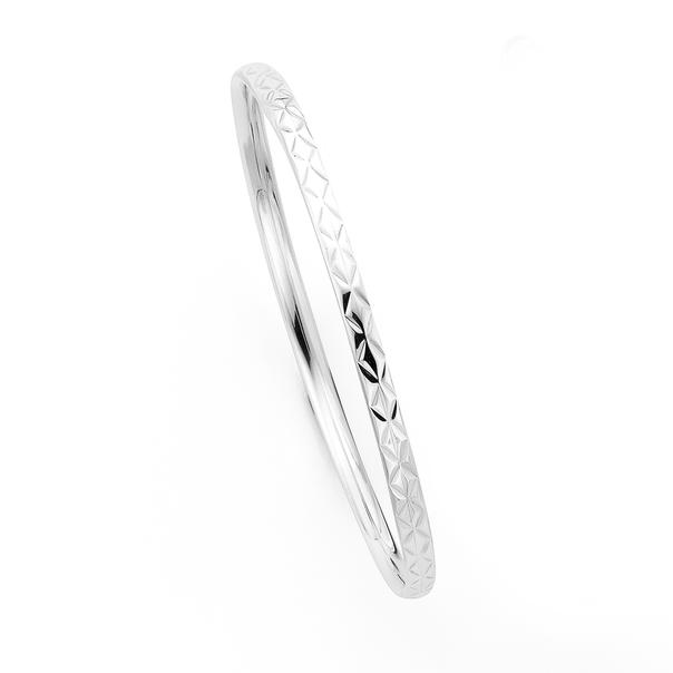 Silver Engraved Hollow Bangle