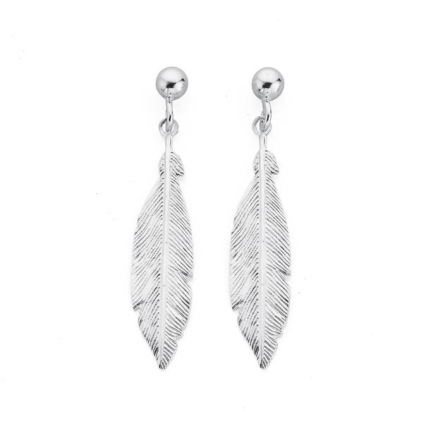 Silver Feather Stud Drop Earrings