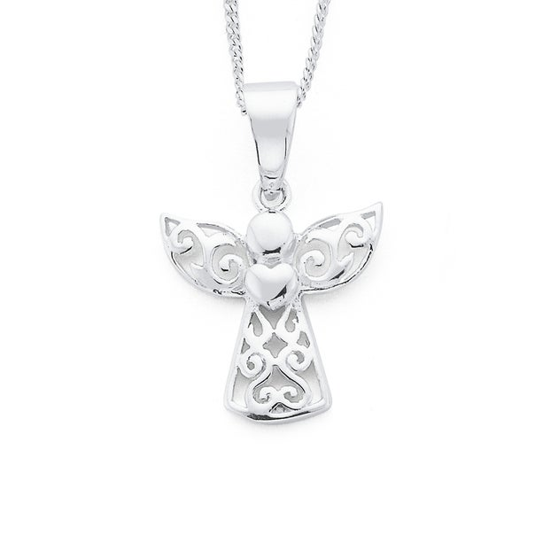 Silver Filigree Angel With Heart Pendant