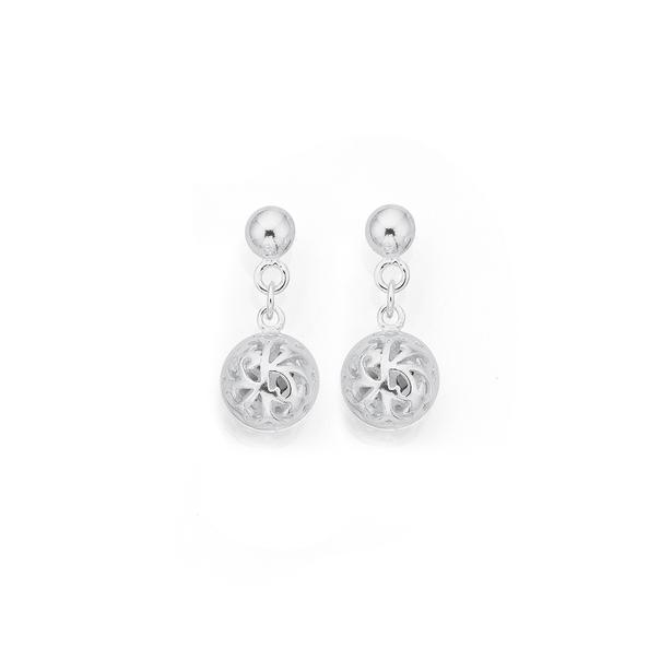 Silver Filigree Ball Drop Earrings