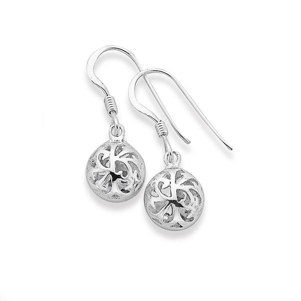 Silver Filigree Ball Hook Earrings