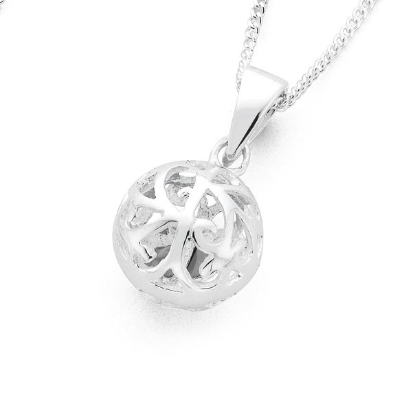 Silver Filigree Ball Pendant
