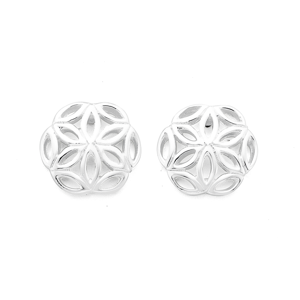 Silver Flower Cut-out Round Stud Earrings