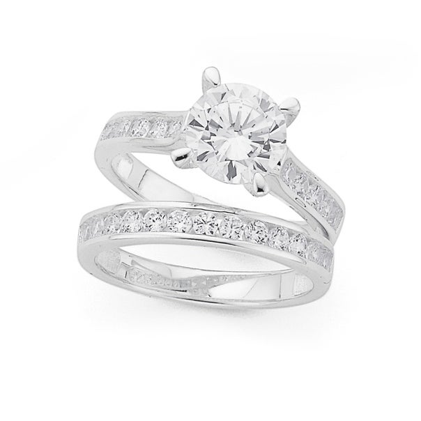 Silver Four Claw Cubic Zirconia Solitaire Wedder Set Ring