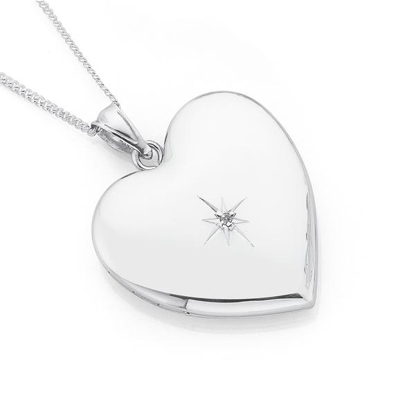 Silver Heart Locket With Diamond Centre