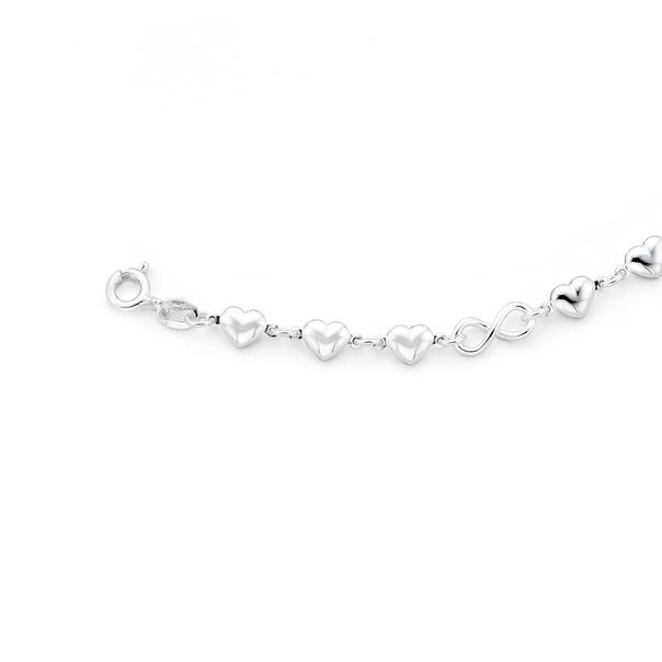 Silver Infinity Heart Link Bracelet