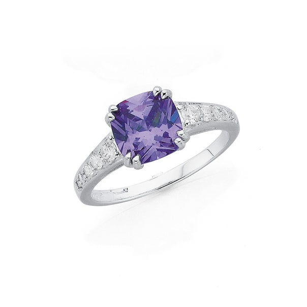 Silver Lavender Cubic Zirconia Square Dress Ring