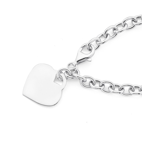 Silver Light Cable Link With Heart Disc Bracelet