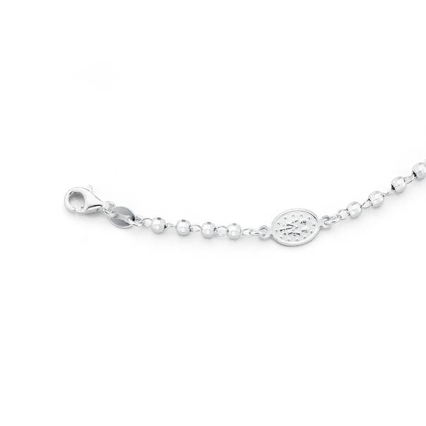 Silver Miraculous Medal Bead Bracelet