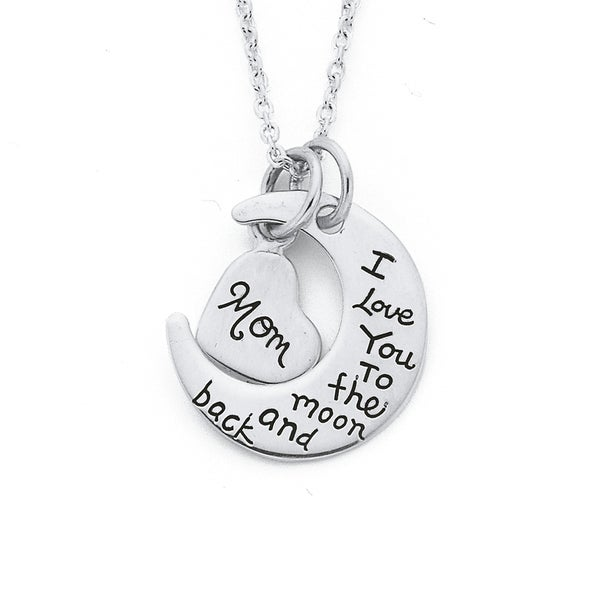 Silver Mom Love You To The Moon Pendant