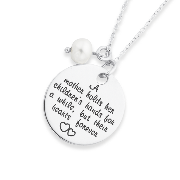 Silver Mother Message Disc W/ Pearl Pend