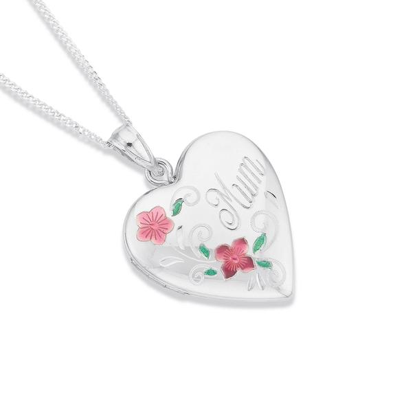 Silver Mum Flowery Heart Locket